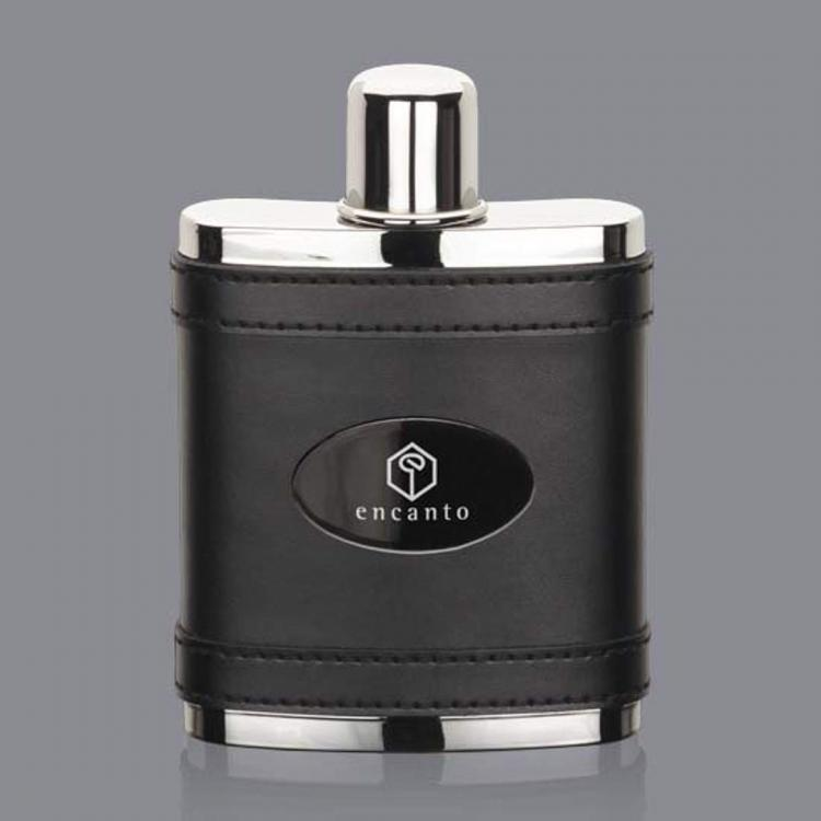 Melrose Hip Flask -  Black/Black Nickel Plate