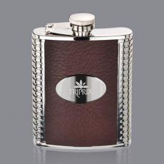 Flasks - Trubner Hip Flask -  Brown/Stainless Plate