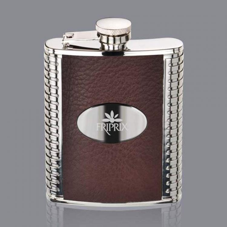 Trubner Hip Flask -  Brown/Stainless Plate