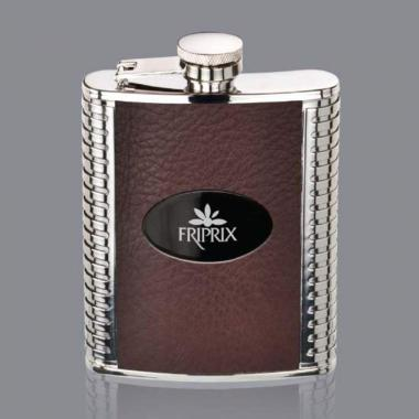 Trubner Hip Flask -  Brown/Black Nickel Plate
