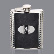 Flasks - Trubner Hip Flask -  Black/Stainless Plate