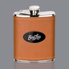 Flasks - Shelburne Hip Flask -  Brown/Black Nickel Plate