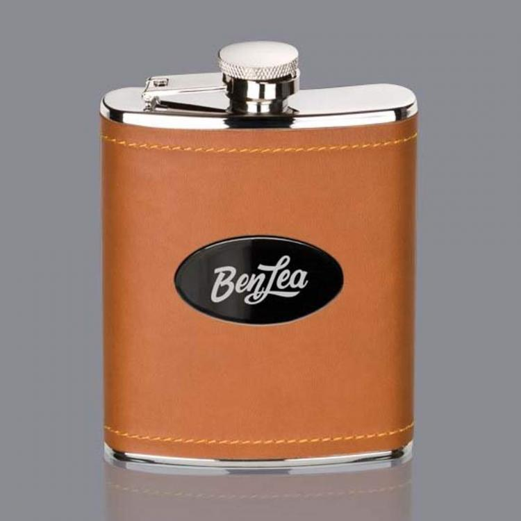 Shelburne Hip Flask -  Brown/Black Nickel Plate