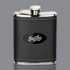 Flasks - Shelburne Hip Flask -  Black/Black Nickel Plate
