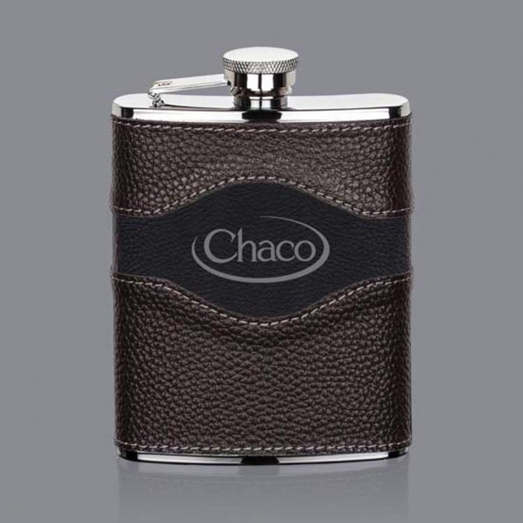 Colchester Hip Flask -  Two-Tone Leather
