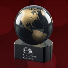 Paperweights - Globe on Crescent - Black