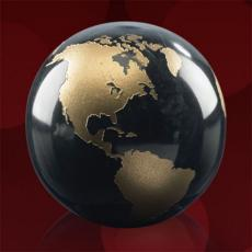 Paperweights - Gold Filled Globe - Black
