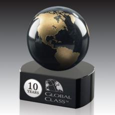 Crystal Paperweights - Globe on Crescent - Green