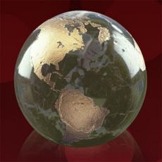 Desk Accessories - Gold Filled Globe - Green