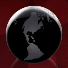 Desk Accessories - Black Globe with Frosted Land