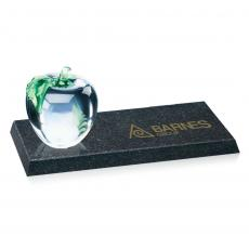 Crystal Paperweights - Apple/Green Leaf on Granite Base