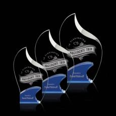 Custom-Engraved Crystal Awards - Cranfield Award - Blue