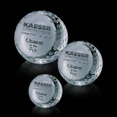 Custom-Engraved Crystal Awards - Golf Ball Paperweight
