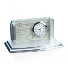 Personalized Corporate Gifts - Moreland Clock/Card Holder - Jade/Alum