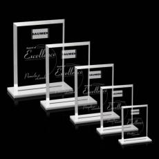 Custom-Engraved Crystal Awards - Denison Award - Starfire/White