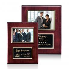 Customizable Plaque Awards - Metcalfe Plaque - Rosewood/Gold