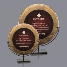 Custom Corporate Acrylic Awards - Baldridge Award - Gold/Burgundy