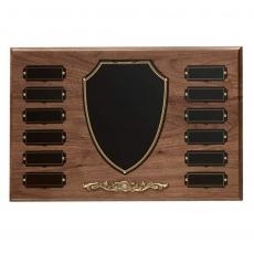 Perpetual Plaques - Walnut Shield Perpetual Plaque