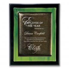 Custom Art Glass Awards Plaques & Trophies - Metallic Fusion Plaque - Green