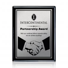 Customizable Plaque Awards - Carson Plaque - Black/Satin Silver