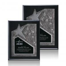 Awards & Recognition Ideas for Employees - Braxton Plaque - Black/Silver