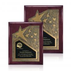 Awards & Recognition Ideas for Employees - Braxton Plaque - Rosewood/Gold