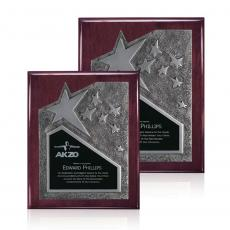 Awards & Recognition Ideas for Employees - Braxton Plaque - Rosewood/Silver