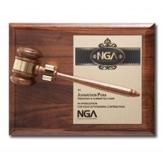 Customizable Plaque Awards - Removable Gavel Plaque - Piano Finish