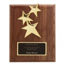 Customizable Plaque Awards - Constellation Plaque - Walnut/Gold