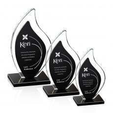 Custom-Engraved Crystal Awards - Flamingo Award - Black