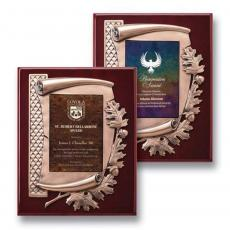 Art Glass Awards & Trophies - Oak Leaf Plaque - Gold/Ebony