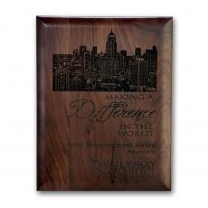Customizable Plaque Awards - Laser Engraved Plaq - Walnut Rolled Edge