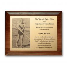 Photo Plaques - Metal Photo Plaq - Walnut Rolled Edge
