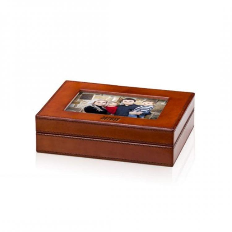 Bianca Leather Photo Box - Tan