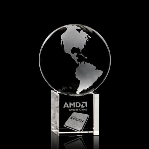 Globe Award on Cube - 3D