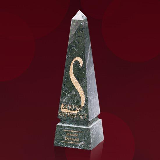 Groove Marble Obelisk - Green 8