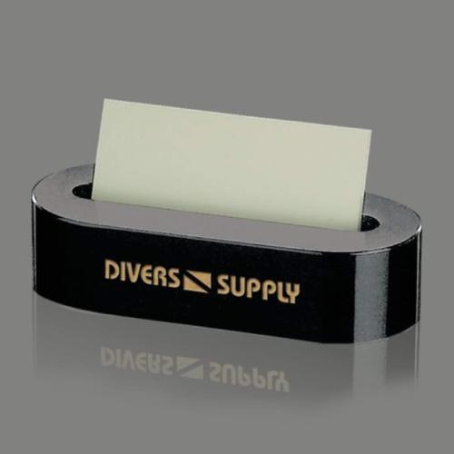 Oval Business Card Holder - Black Marble