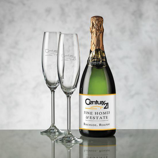 Champagne - Color Label & Woodbridge Flute Set