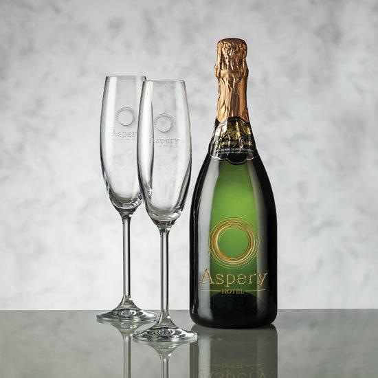 Champagne - Deep Etch & Woodbridge Flute Set