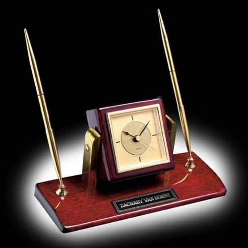 Eggleton Clock/Pen Set - Gold