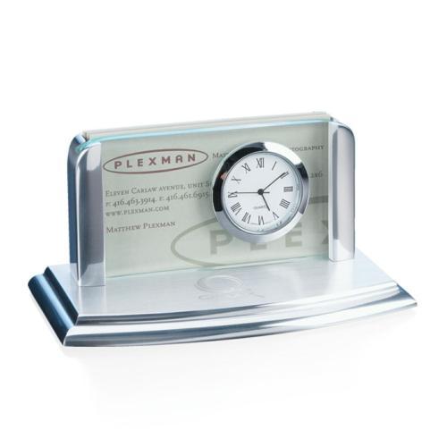 Moreland Clock/Card Holder - Jade/Alum