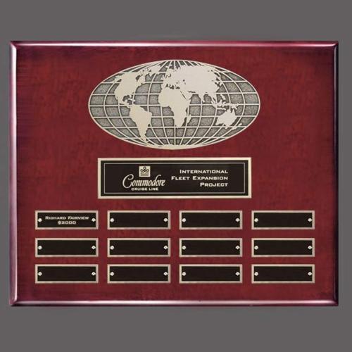 World Perpetual Plaque (Horiz) - Rosewood