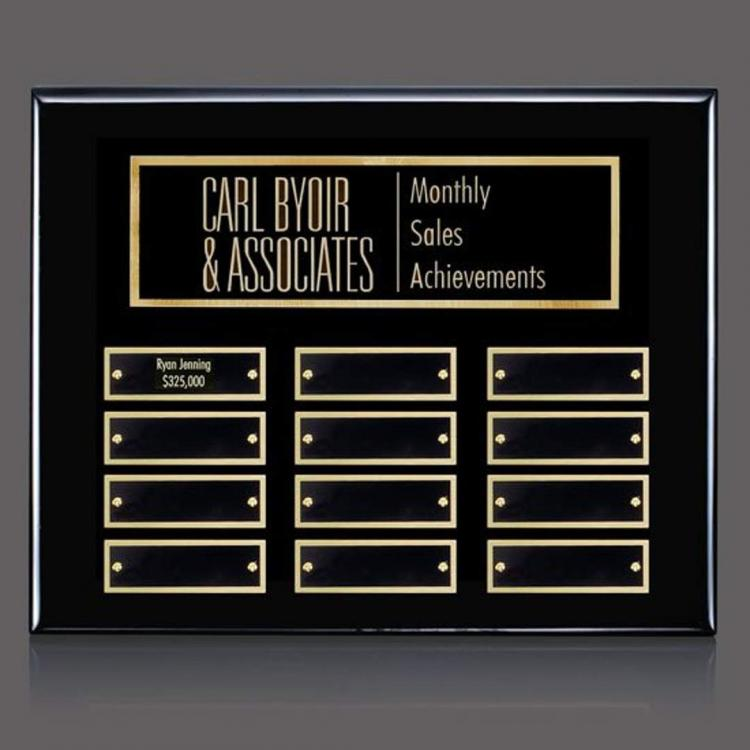 Oakleigh Horiz Pert/Plaque - Black/Gold 12 Plate