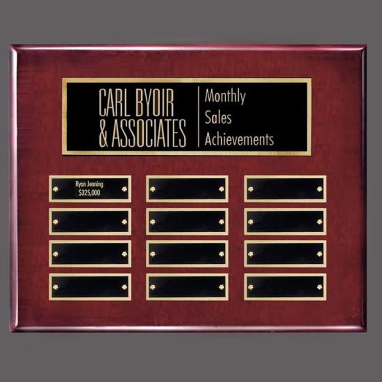 Oakleigh Horiz Pert/Plaque - Rosewood/Gold