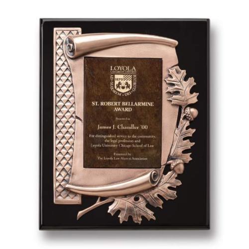 Oak Leaf Plaque - Gold/Ebony