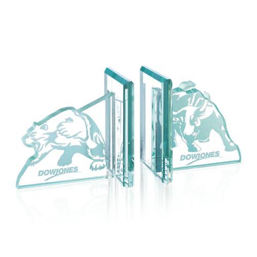 Bull/Bear Bookends - Jade