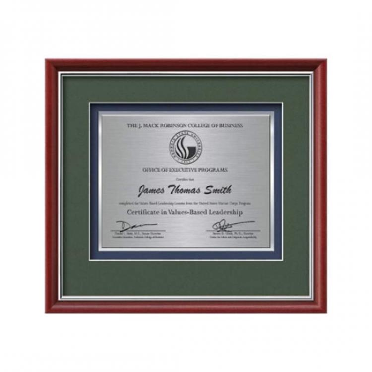Baron Certificate TexEtch Horiz - Mahogany/Silver