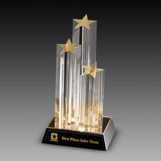 Custom Corporate Acrylic Awards - Tripple Star Column Acrylic Awards
