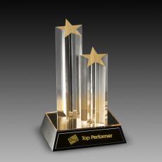 Custom Corporate Acrylic Awards - Double Star Column Acrylic Awards