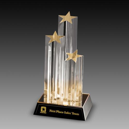 Tripple Star Column Acrylic Awards